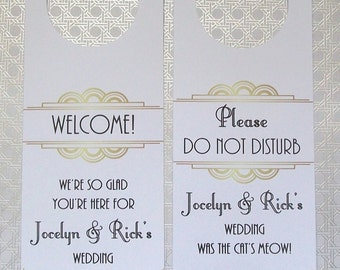 Hotel Door Hangers - ART DECO - Double Sided for Out of Town Wedding Guests - Do Not Disturb - Great Gatsby