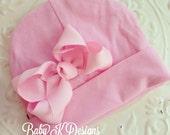 Baby K Designs Signature Cotton  Beanie / Newborn Beanie / Girls Beanie /  White n Pink Cotton Knit Beanie with Bow/ Portait Hat  TWO SIZES