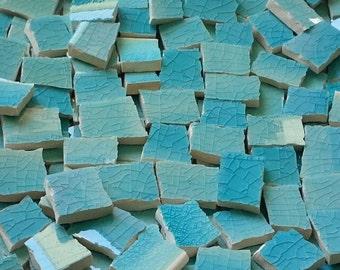 Mosaic Tiles--Turquoise Caribbean  Glaze--47 Tiles.