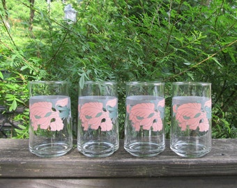 Four Vintage Beverage Glasses - Pink and White Iris Tumblers