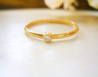 Tiny Diamond Stacking Ring Simple & Classic Diamond Solitaire Ring Engagement Ring - made to order in your finger size