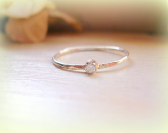 Petite Diamond Ring Sterling Silver April Birthstone Ring Dainty Stacking Ring Promise Ring Pinky Ring - made to order in your finger size