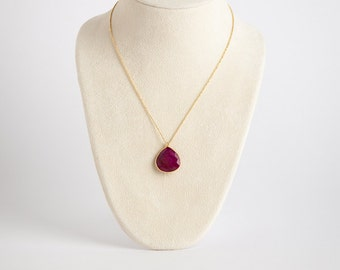 Delicate Ruby Geode Necklace with Gold Vermeil Chain 16""