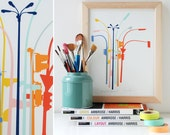 Lamp Post Bouquet Art Print - City lovers multi colored wall art.