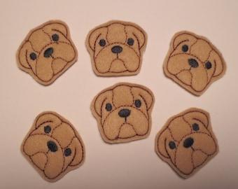 Tan Felt Machine Embroidered Bulldogs - 039