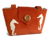 SALE - Corduroy Wayfarer Purse - Seahorse Appliques - Handbag - Burnt Orange - Nautical