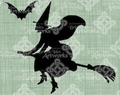 Digital Download Witch Silhouette Broom and Bat Halloween, Vintage graphic, digi stamp, Fantasy Gothic Digital Transfer