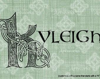Digital Download Celtic Illumination Letter K, digi stamp, digis, St Patricks Day, Ornate digital collage sheet, Animal Inspired