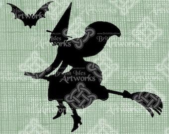 Digital Download Witch Silhouette Broom and Bat Halloween, Vintage graphic, digi stamp, Fantasy Gothic Digital Transfer