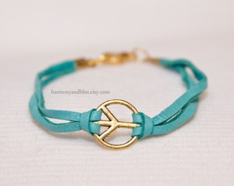 Peace sign bracelet, gold peace sign jewelry, turquoise leather bracelet, boho stack jewelry, teen fashion, peace jewelry, peace bracelet