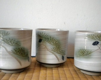 Pretty vintage pine (matsu) tea cups made in Japan - three of them