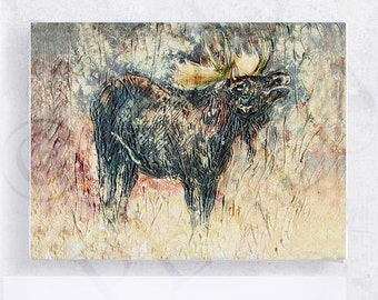Moose Art - 5x7 Canvas Print on Wood Block - Walk on the Wild Side -  Rustic Home Decor - Country Cottage Wall Art