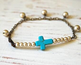 Petite cross. turquoise cross pearl charm beracelet. tiedupmemories