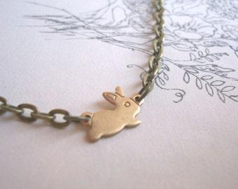 Little Bunny charm bracelet - golden brass rabbit - stackable