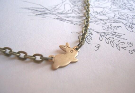 Little Bunny charm bracelet - golden brass - handmade - stackable