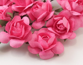 120  Hot Pink Paper Flowers - small bouquet - wedding, bridal, baby showers, invitation making, scrapbooking
