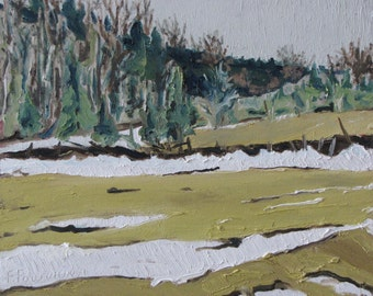 """Art Plein Air Small Oil Painting  Winter Landscape Impressionist Eastern Townships Quebec Canadian Fournier """" The Last Of The Snow """" 10 x 12"""
