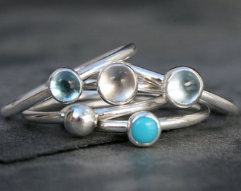 Pacific Island Stacking Rings, Sky Blue Topaz, Clear White Quartz, Swiss Blue Topaz, Turquoise, Silver Gem Drop, Sterling Silver Stack Rings