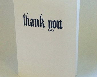 hand drawn gothic thank you letterpressed card