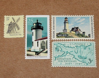 Lighthouses and Windmills .. Unused Vintage Postage Stamps .. Enough to mail 5 letters, Nautical themed stamps, wedding invitations, mail.