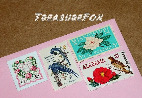 LOVE .. Southern Bride .. Flowers .. Unused Vintage US Postage Stamps .. mail 10 letters for wedding invitations .. Magnolias and roses