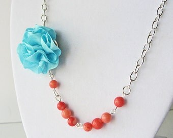 Aqua rose necklace, statement necklace, floral bridesmaid jewelry, turquoise rose necklace, silk rose necklace, aqua and orange necklace