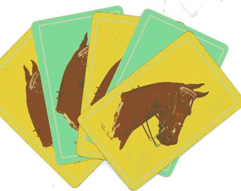 Vintage horse cards Set of 5 Yellow Green Playing cards for collage art scrapbooking Equestrian Horse Lover supply