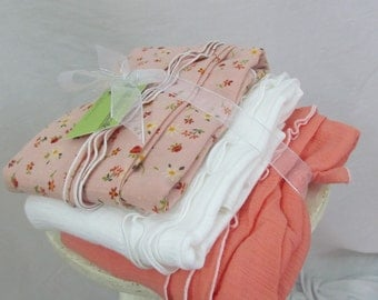 Swaddler Baby Blanket trio - 3 oversized Cotton Gauze Receiving blankets - peach floral and accents, baby shower gift