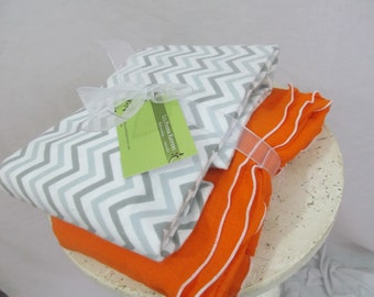 Swaddler Baby Blanket duo - 1 Oversized Flannel, 1  Gauze - Gray Chevron w Tangerine