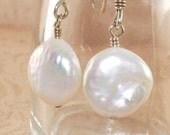 Pearl Earrings, Freshwater, Coin, Dangle, Handmade Jewelry, DDurda