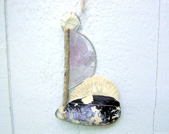 Shell Boat Suncatcher Ornament with Amethyst Seaglass Sail