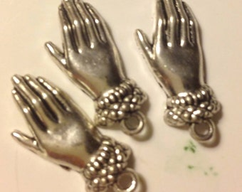 silver hand  charms  body parts victorian woman romantic    metal   jewelry supplies  quantity 5 Five findings  (D5)