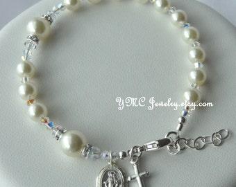 Sterling Silver Pearl Rosary Bracelet, First  Communion Bracelet, Confirmation, Godmother Bracelet, Chaplet Rosary Bracelet,Chaplet Bracelet