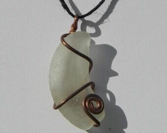 Seaglass Moon Pendant