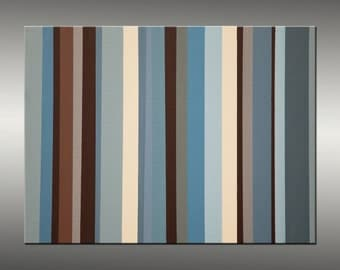 Parallel 2 - Abstract Painting Original Art Painting Abstract Canvas Art, Modern Art, Industrial, Geometric Blue Brown Canvas Wall Art