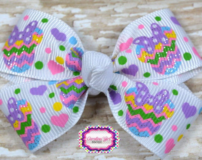 Chevron Minnie Heads Hair Bow 2.5 Inch Pinwheel Boutique Bow for Babies Toddlers Girls Hair Bows
