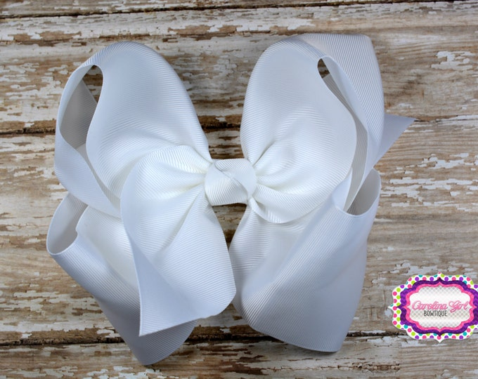 6 in. White Boutique  Hair Bow - XL Hair Bow - Big Hair Bows - Girl Hair Bows