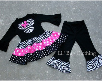 Custom Minnie Mouse Hot Pink Black and Zebra Tiered Top and Leggings Birthday Girl