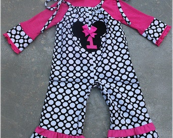 Custom Boutique Minnie Mouse Personalized 1 Piece Pant Length Jumper Black White Polka Dots And Pink 3m 6m 9m 12m 18m 2T 3T 4T 5T 6 girl