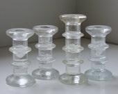 4 vintage glass candle holders Littala Festivo style