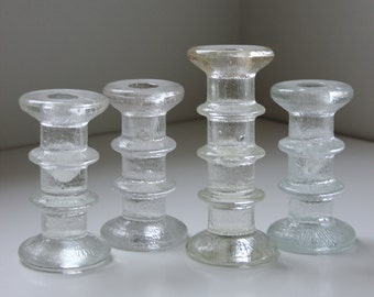 4 vintage glass candle holders Littala Festivo style