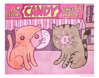 Bubblegum Cats 8x10 or 5x7 Illustration Print