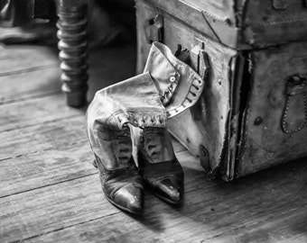 Grandma's Old Boots -- black and white photograph
