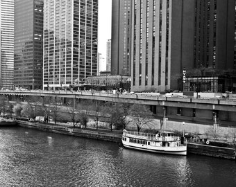 Boat on the Chicago River -- Downtown Chicago -- Black and White Photograph