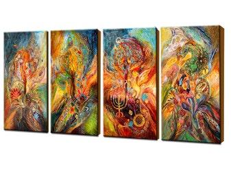 Zodiac Signs Interior Design Original Wall Art Giclee Canvas Print 4 Pieces Composition Home Living