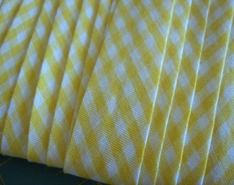 YELLOW and white GINGHAM Check BIAS Tape Binding - Single Fold - Double Fold - 6 Yards