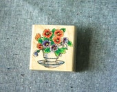 Rubber Stamp - Pansies in a Tea Cup