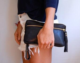 XL wallet wristlet in black snake embossed cow hide