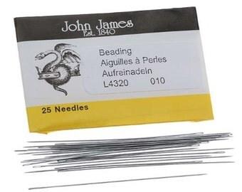 Size 10 John James English Beading Needles---Pack of 25