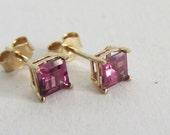 Garnet 14k Gold Square Faceted Stud Earrings